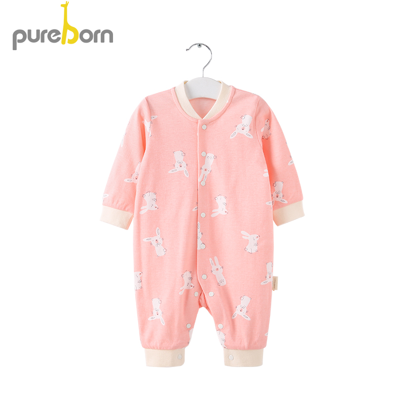 pureborn Baby Girl Clothes Long Sleeve   Romper   Newborn Infant Baby Boy Clothes Cotton Cartoon One-Piece Soft FashionOutfits