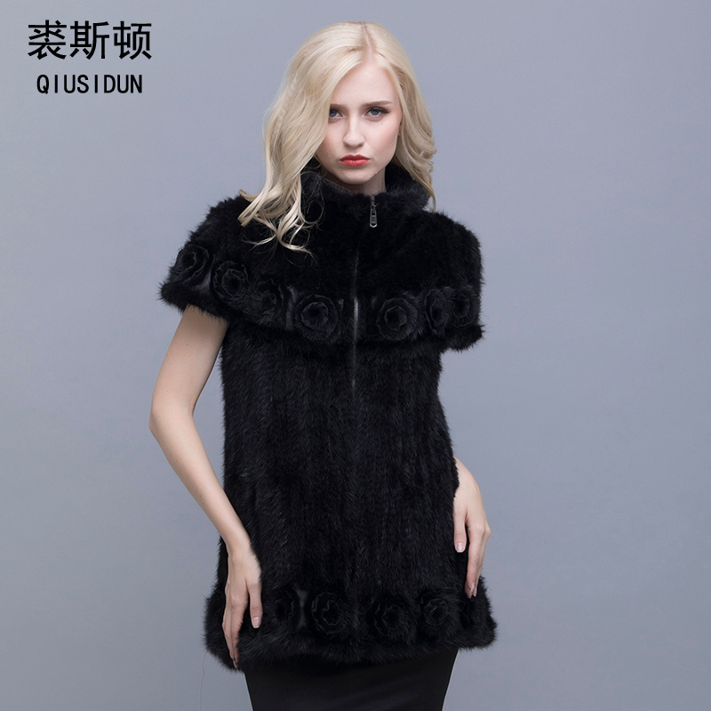 Mink knitted coat  The real fur knitted jacket Stylish Lapel bat sleeve  A woman with flowers in winter warm clothing L-4XL