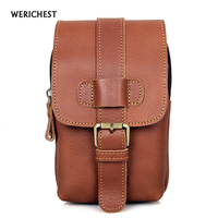 WERICHEST 2017 Hot outside Molle Waist Bags Genuine Leather Men's Casual Waist Pack Purse Mobile Phone Case for Phone