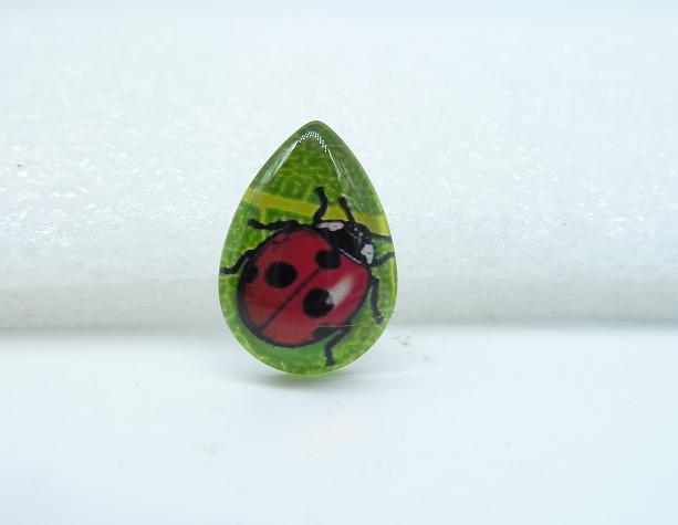 6pcs 13x185mm Handmade Photo Teardrop Glass Cabs Cabochons (Insect - Ladybug Beetle)