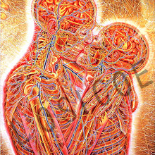 Alex Grey Hug and Kiss Trippy Psychedelic Abstract Art Silk Vintage Kraft Paper Poster Wall Sticker