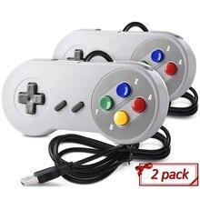 Controle usb para jogos snes, joystick clássico usb para raspberry pi, 2 peças