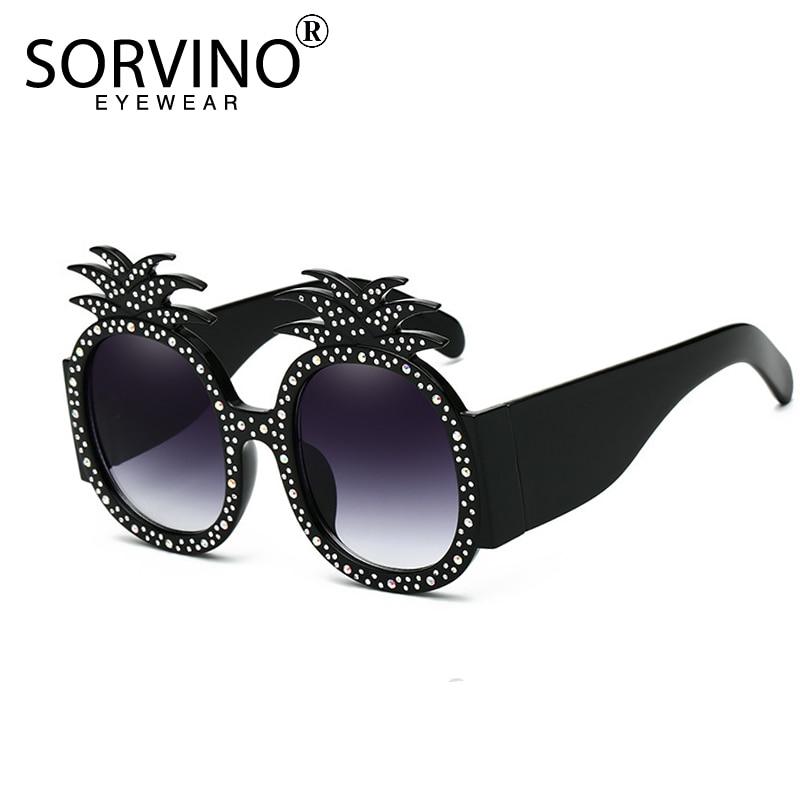SORVINO Vintage 90s Oversize Rhinestone Pineapple Sunglasses 2018 Women Luxury Brand Diamond Designer Sun Glasses Shades SN227