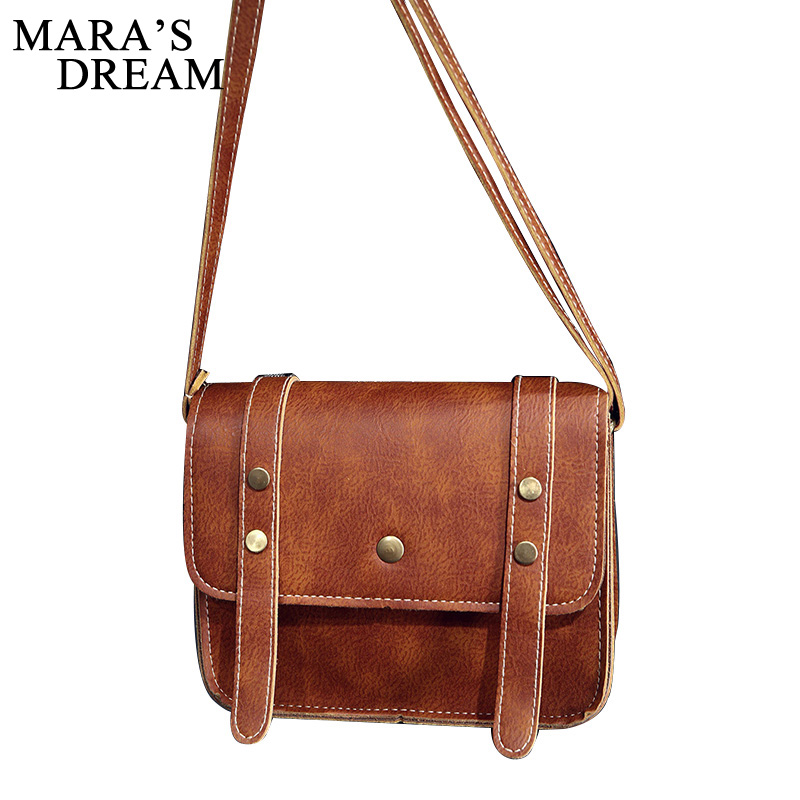 Mara's Dream 2018 Vintage Women Leather Messenger Bag Handbag Ladies Small Crossbody Bags Women Shoulder Bags Girls Bag new fashion women message bags with small purse metal ring handle leather handbag ladies girls trendy shoulder bag balestra