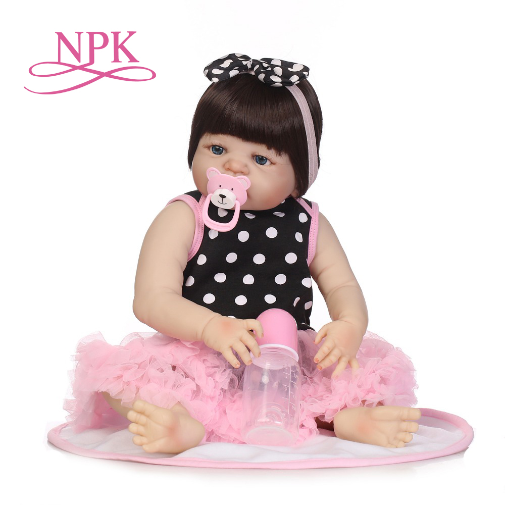 NPK 55CM Soft Silicone Reborn Baby Doll Girl Toys Lifelike Babies Boneca Full VInyl Fashion Dolls Reborn Reborn Menina npk black skin full silicone girl pacifier model baby dolls 56cm lifelike reborn baby boneca can enter water bath doll toys
