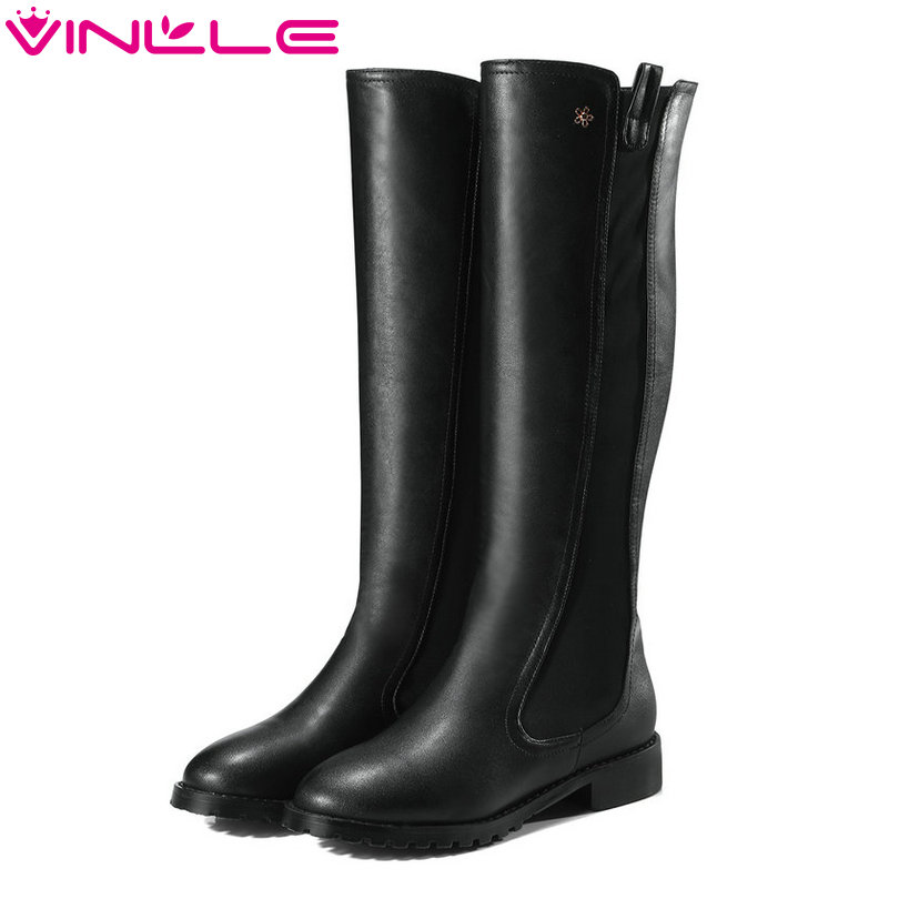 VINLLE 2018 Women Boots Knee High Boots Square Low Heel Zipper Round Toe Fashion Style Ladies Motorcycle Shoes Size 34-43 vinlle 2018 women ankle boots shoes buckle autumn winter square high heel pointed toe zipper ladies motorcycle shoes size 34 42