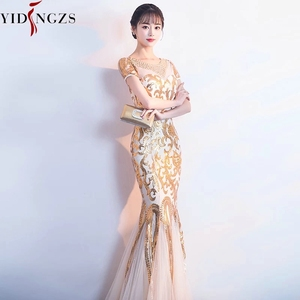 Image 4 - YIDINGZS Gold Sequins Party Formal Dress Short Sleeve Beads Sexy Long Evening Dresses YD089