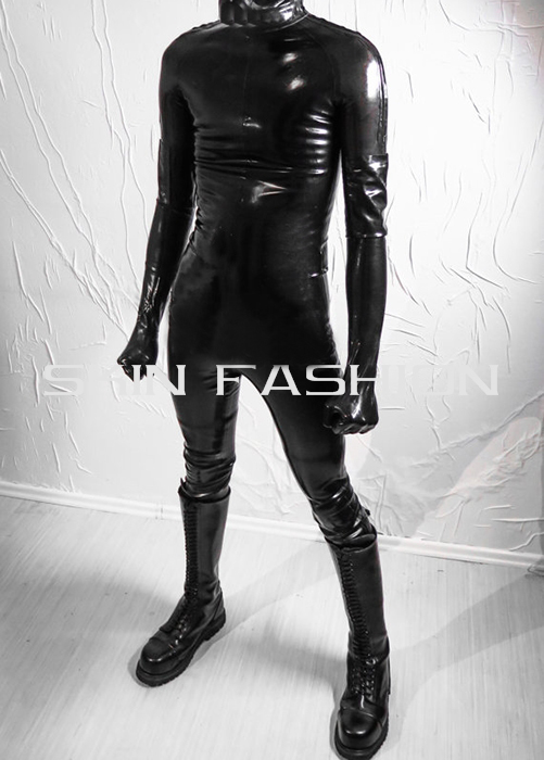 Free shippinp Men black close fitting latex straitjacket with hand feet