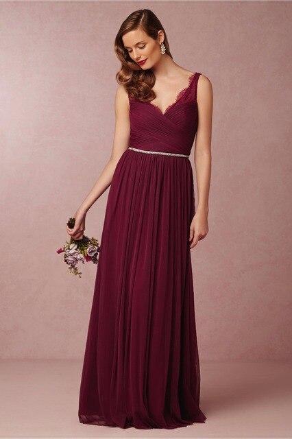38d4aed64 2016 high quality long chiffon bridesmaid dresses backless v neckline  burgundy junior bridesmaid dress wedding party gowns