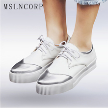 Plus Size 34-43 Oxford Shoes For Women Casual Flats Spring Autumn Lace-Up Loafers Comfortable Platform Zapatos Mujer