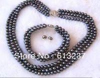 Calda trasporto Libero nuovo 2014 Fashion Stile diy 3 Righe 7-8mm Black Pearl Braccialetto Della Collana MY4794
