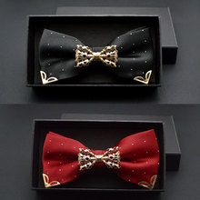 New Boutique Hollow Metal Decoration For Wedding Married Groom Men Neck Wear Butterfly Knot Dot Bow Tie Cravat Male Party Black