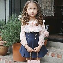 Children Girls Dress Set New Fashion Clothing Kids Bow Shirt + Dress Two-piece Set Children Clothing