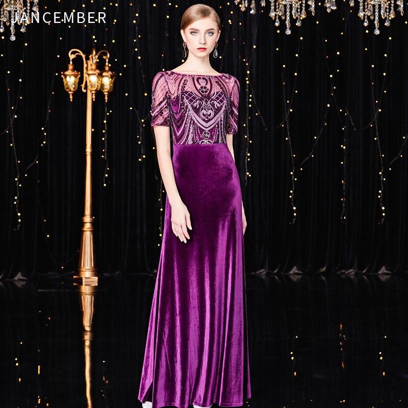 JANCEMBER   cocktail     dresses   2019 Scoop Straight Short Sleeve Floor-Length Vintage Pattern Sequined vestidos de coctel de noche