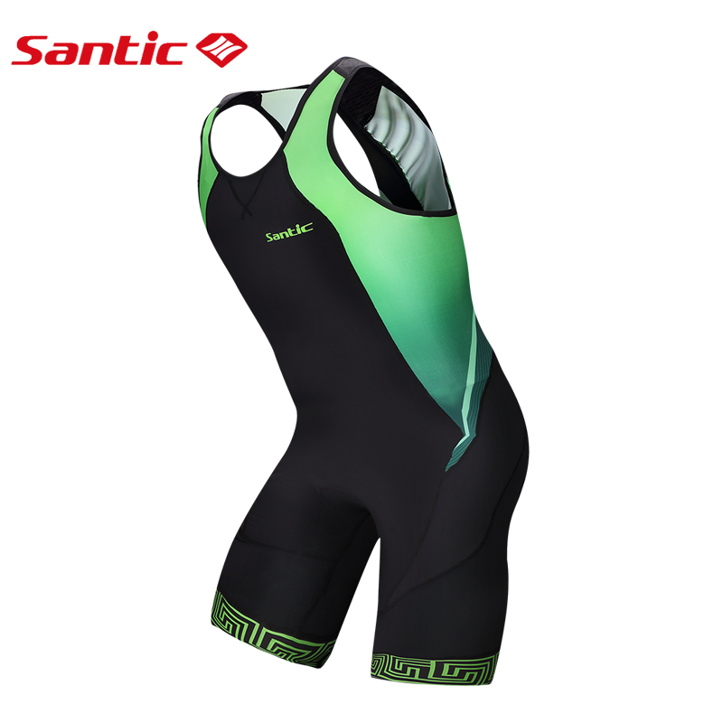 SANTIC Mens Cycling Sets 4D Gel Padded Shorts Bicycle Jerseys Cycling Equipment Coolmax Triathlon Suit Slim Fit Jumpsuit Overall