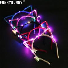 FUNNYBUNNY  LED Light Up Cat Animal Ears Headband Women Girls Flashing Hair Accessories