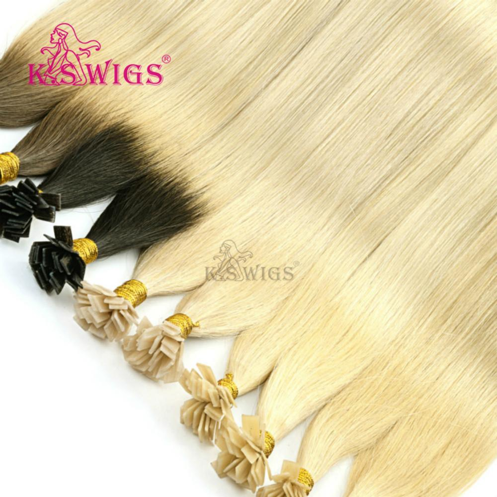 K.S Wigs 1g/s 24'' Straight Double Drawn Pre Bonded Flat Tip Remy Human Hair Extensions Capsules Keratin Fusion Hair(China)