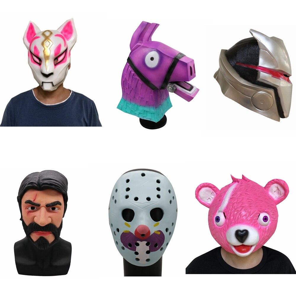 2018 Fox deriva látex Llama máscara completa abrazo jefe juego Cosplay Funny Animal oso rosado del partido de Halloween props