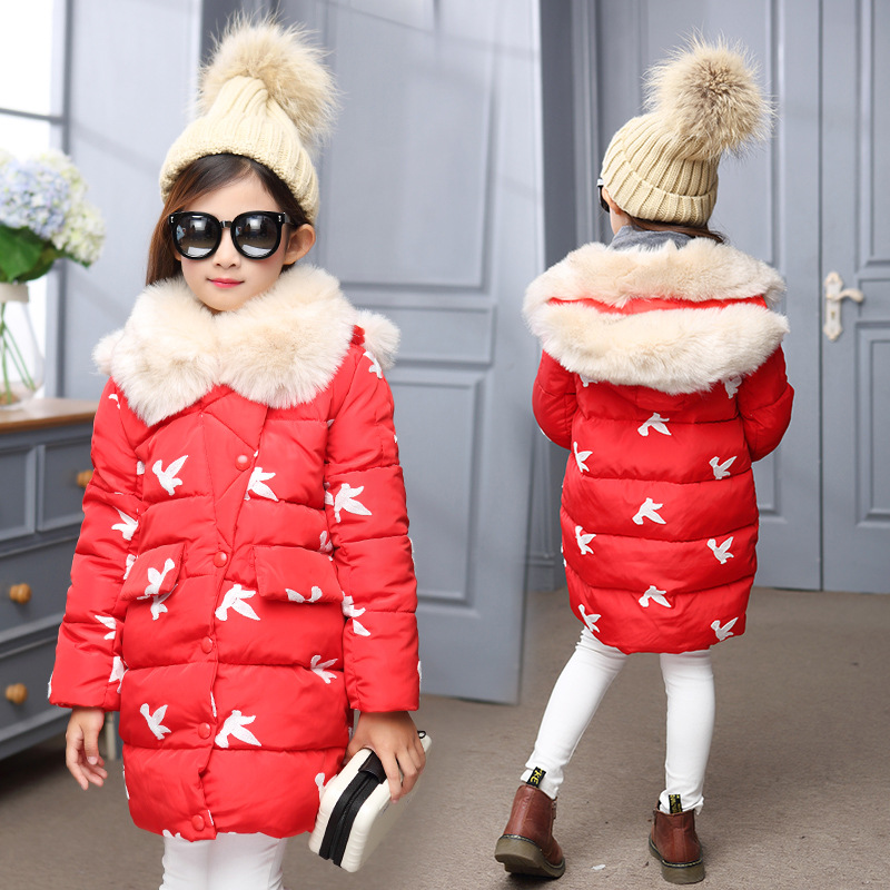 2018 New Fashion Children Winter Jacket Girls Winter Coat Kids Warm Thick Fur Collar Hooded Long Down Coats 5 7 9 11 13 Years купить в Москве 2019