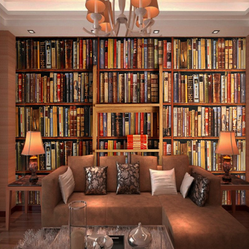 study wall living murals bookstore retro background 3d mural decorative nostalgic zoom wallpapers