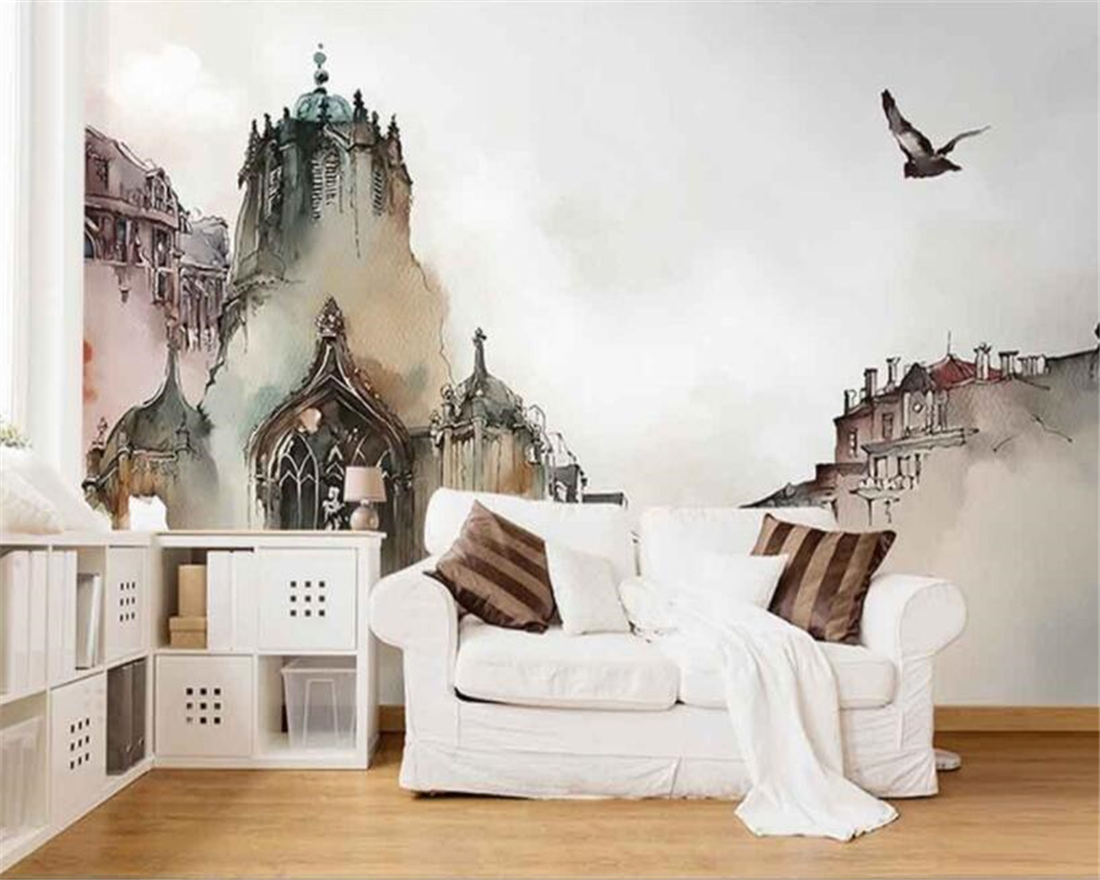 Купить с кэшбэком Beibehang 3d wallpaper Nordic City Architecture Abstract Art 3D Living Room TV Backdrop wallpaper for walls 3 d papel de parede