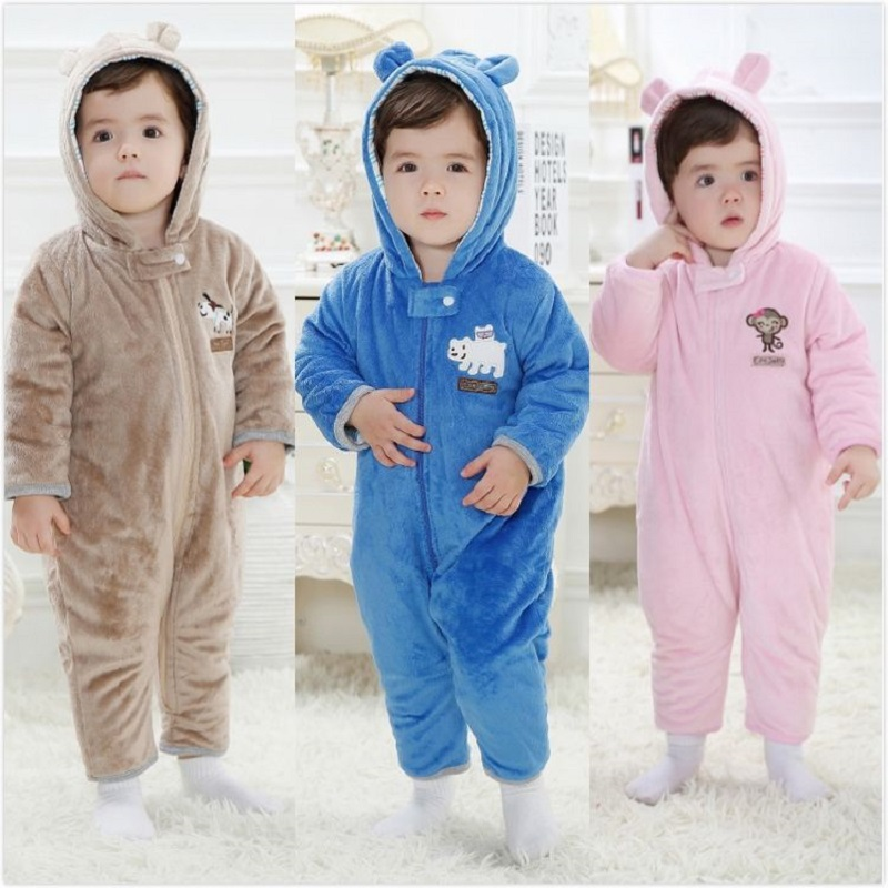 Winter Baby Rompers Fleece Thick Newborn Clothes Outfits Baby Boy Jumpsuit Girl One-Piece Clothes Hoodies Animal Cute Coat