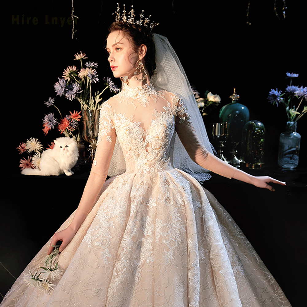 Image 4 - Robe De Mariee Princesse De Luxe 2020 High Neck Full Sleeve Beading Pearls Appliques Lace Luxury Ball Gown Wedding DressesWedding Dresses   -