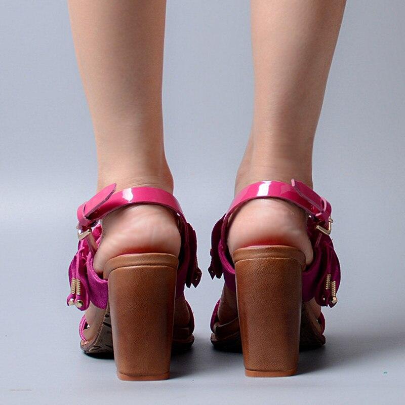 Design Plissierten Mode Gnade Schnalle Frau Echtem red Aus Blue Schuhe Sandalen Heel Leder Marke Toe Peep High Perfetto Zurück Prova x5EBqwIE
