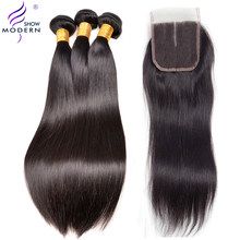 Straight Hair 3 Bundles With Closure Malaysian Human Hair Bundles With Closure Middle Part 4pcs/lot Modern Show Weave Non Remy(China)