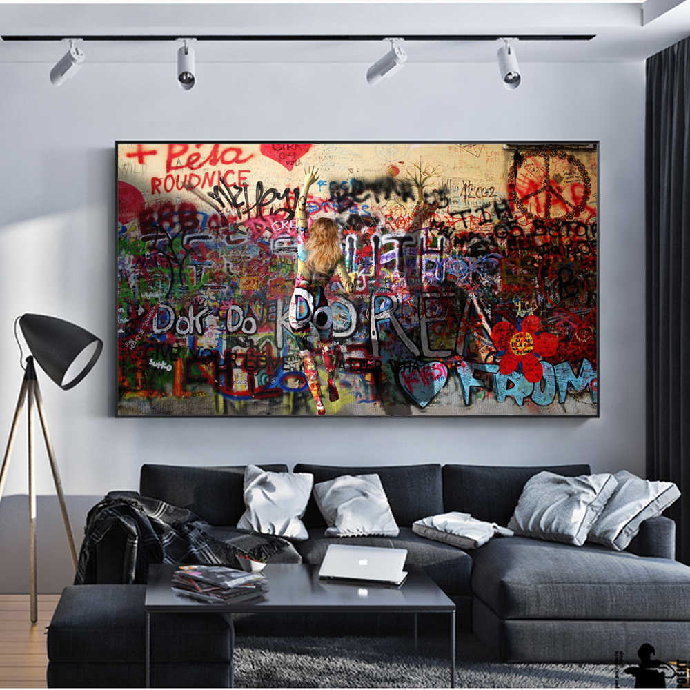الحديثة الشارع الفن يطبع على الجدران مجردة جدار الفن قماش اللوحات البوب الفن قماش صور لغرفة المعيشة كوادروس الديكور