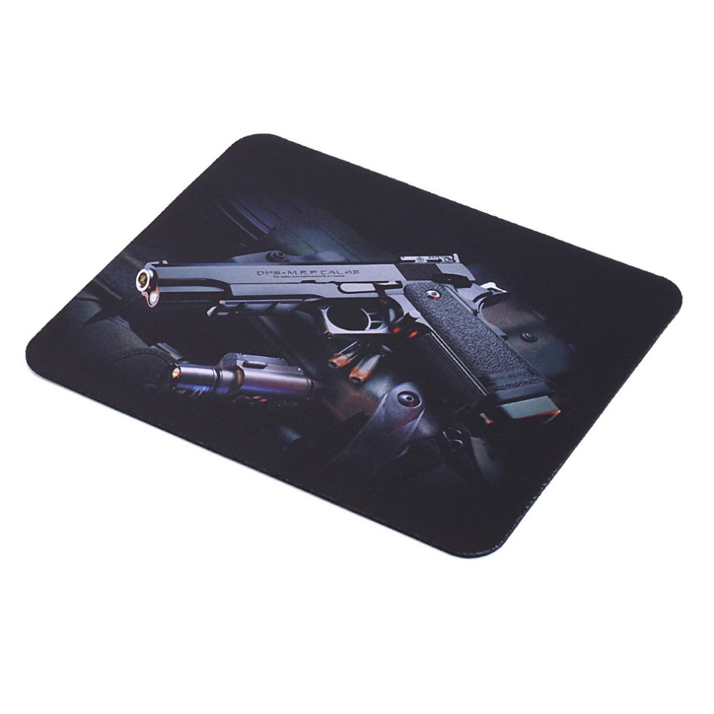 2015 New Gun Picture Anti-Slip Laptop PC Gaming Mice Pad Mat Mousepad For Optical Laser Mouse Hot Selling
