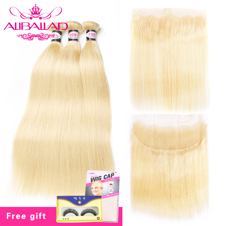 613 Bundles With Frontal Malaysian Blonde Straight Hair Bundles With Lace Closure Frontal Remy Human Hair Extension Aliballad