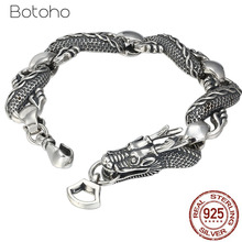 Real 925 Sterling Silver Dragon Bracelets for Men Punk Rock Vintage Heavy Thai Silver Bracelet Male Luxury Jewelry Birthday Gift zabra solid luxury 925 silver customized ring beauty and the beast punk rock vintage rings for men women luxury jewelry