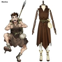 Anime Dr. Stone Costume Taiju Oki Cosplay Oki Taiju Adult Brown Dress Male Full Set Custom Halloween Christmas Carnival Party