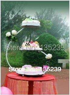 3 vrstvy 30 * 60 cm železné svatební dort stojan, přizpůsobené party dekorace upřednostňuje, může pojmout 4 libry dort, 3 barvy