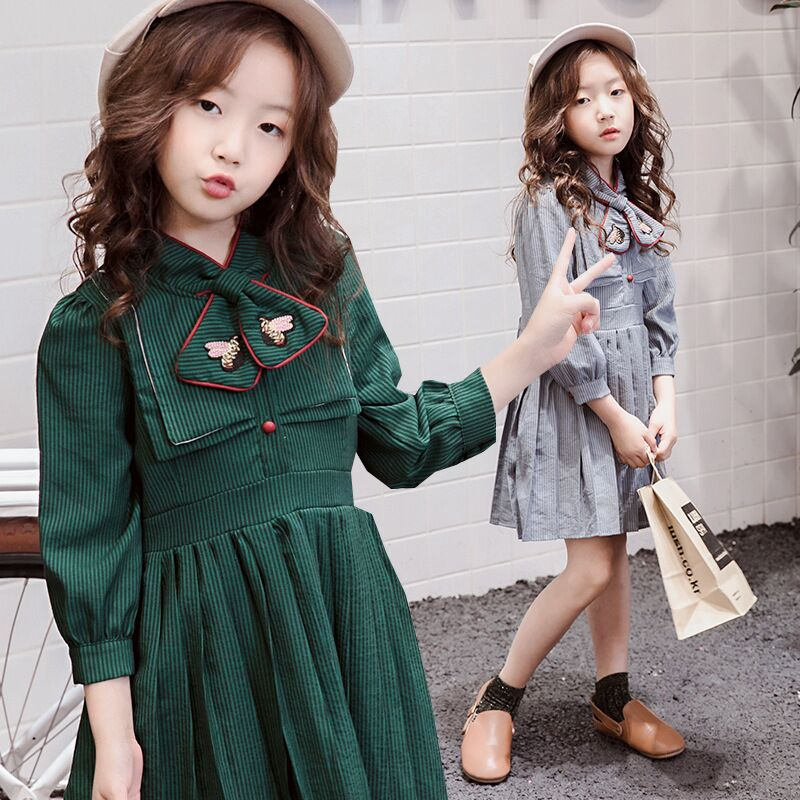 5-14Years Teenage Girls Dress With Bows Long Sleeve Vintage Girl Princess Dresses For Party 2018 Autumn Winter Girls Dresses autumn winter kids girls knitted dress with bows long sleeve kids princess dresses for girls cotton sweater dress