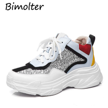 Bimolter Women Shoes Casual Flat Woman Lace Up Breathable Sequin Bling Sneakers For Round Toe Platform Femme NB126