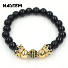 New Fashion Designer Micro Pave CZ Copper Ball With King Crown Charm Men Natural Black Onyx Stone Beads Bracelets For Women