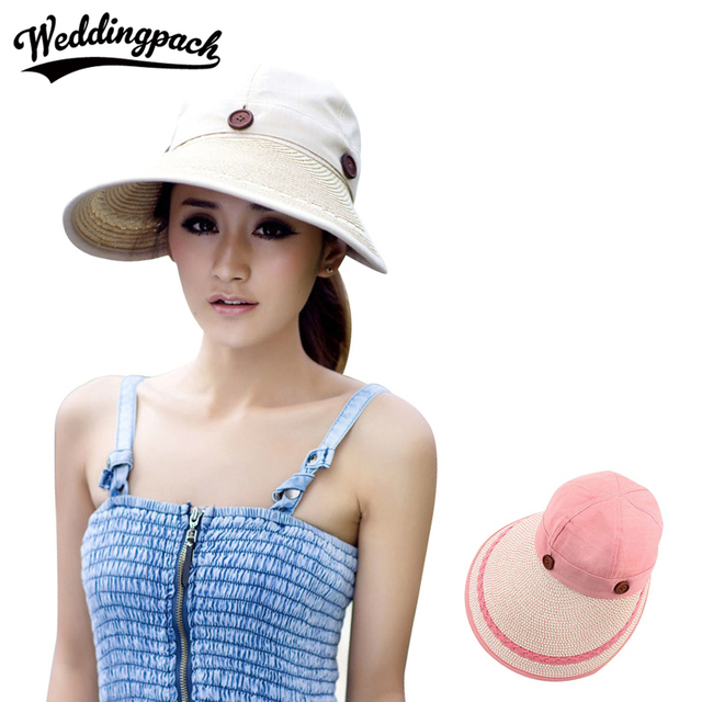 Wide Large Brim Women Sun Caps UV Protection Female Cap Summer Beach Straw Hat  Lady Sun Hats Button Dual Use Women s Accessories 685b80abec4