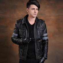 S-4XL NEW !! Men brand Genuine Leather jacket Slim the first layer calfskin motorcycle clothing plus size leather jacket coat