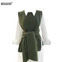 RUGOD 2018 Herfst Winter Klassieke Gebreide Vest Trui Vrouwen Slim Lace UP Mouwloze Trui Vrouwelijke O Hals Breien Trui
