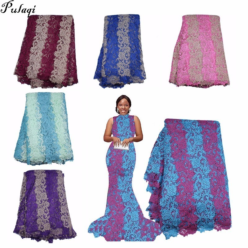 Pualqi 2018 Latest French Nigerian Laces Fabrics High Quality Tulle African Laces Fabric Wedding African French Tulle Lace D