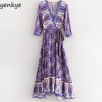 Boho Summer Dress 2018 Women Vintage Ethnic Printed Wrap Dress Sexy Cross V Neck Split Casual Beach Long Dress DWDD6097