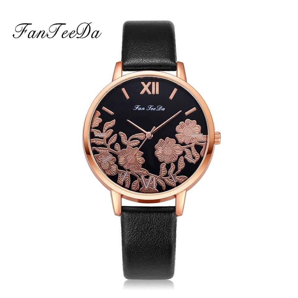 цена Fanteeda Brand Watches Women Fashion Luxury Watch Black Flowers Women Sport Quartz WristWatches Ladies Dress Watches Clock