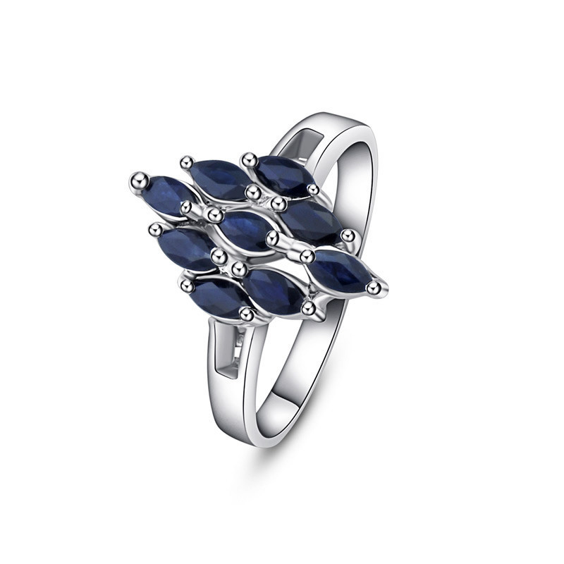 Blue Natural Sapphire Diamond Gift 925 Sterling Silver Ring