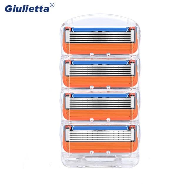 Giulietta 5 Layer Shaver Razor Blade fit Men Compatible Gillettee Fusione Razor Blades fit Men Sharp Enough 12pcs/Box