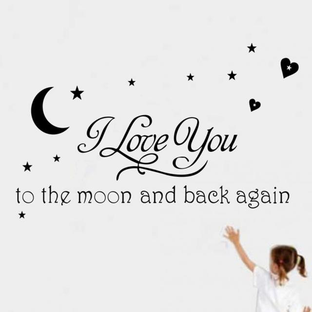 1pcs Pvc Moon And Star Loving Quotes Removable Wallpaper Vinyl Wall
