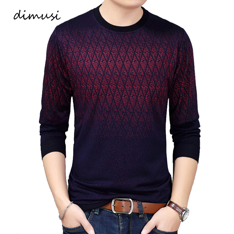 DIMUSI Autumn Winter Mens Sweater Shirt Casual Men O-Neck Wool Pullover Sweater Men's Slim Fit Knitted Pull Sweaters Clothing