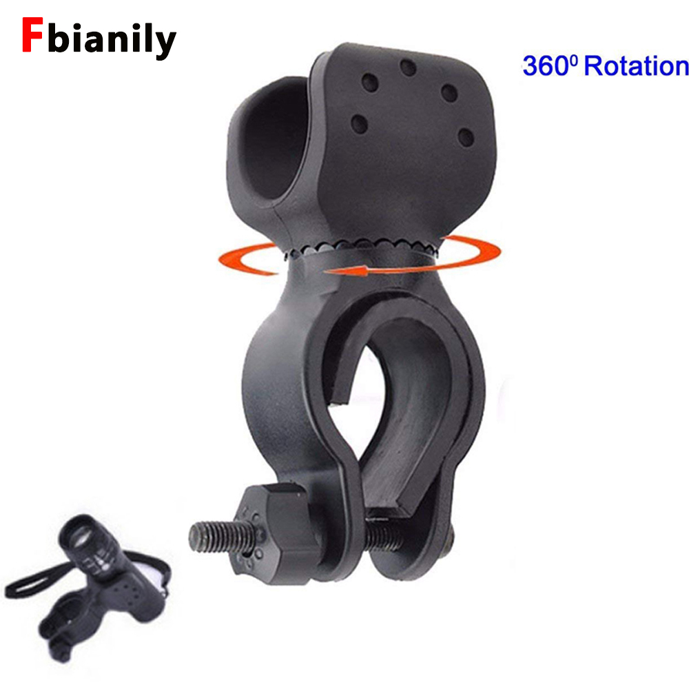 New 360 Swivel Bike LED Flashlight Mount Bracket Flash Torch Holder Front Light Clip Clamp Lantern Soporte Bicycle Accessories 21mm tactical flashlight mount clip for helmet rails single clamp rack adaptor mount holder for led flashlight torch clip clamp