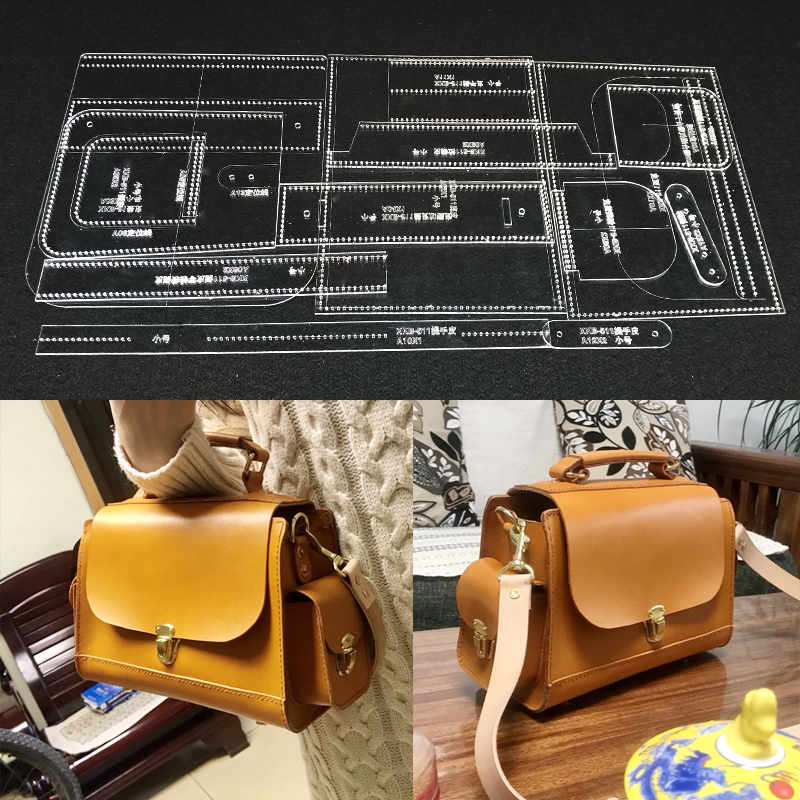 Handmamde Shoulder Bags Acrylic Template Leather Pattern DIY Hobby Leathercraft Sewing Pattern Stencils 268x185x130mm